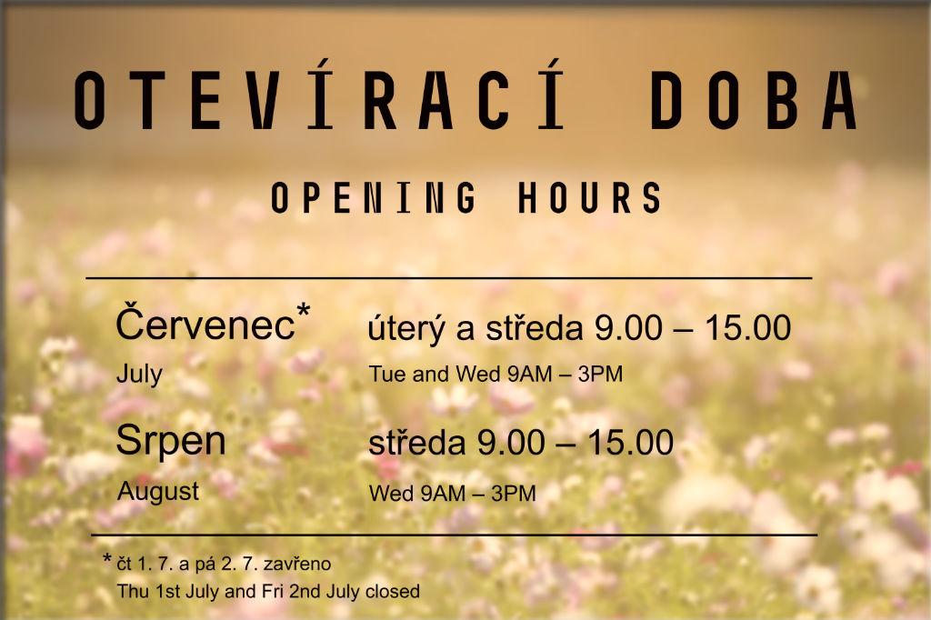 PO - ČT 9.00 až 16.00; PÁ 9.00 až 15.00